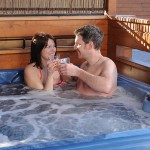 Relax in the hot tub at Faulkers Lakes