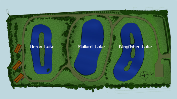 Diagram showing the lakes at Faulkers Lakes